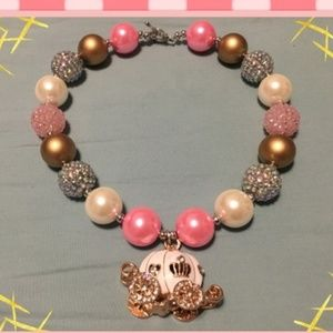 Chunky bubblegum beaded necklace with carriage